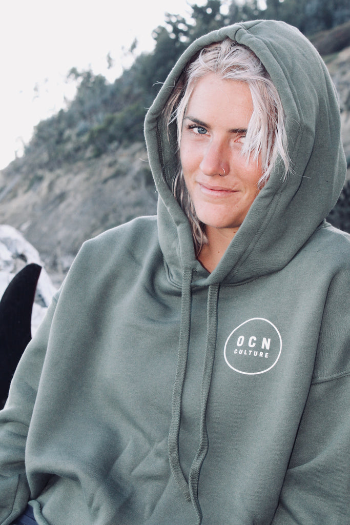 Crop Kelp Green Fleece Hoodie