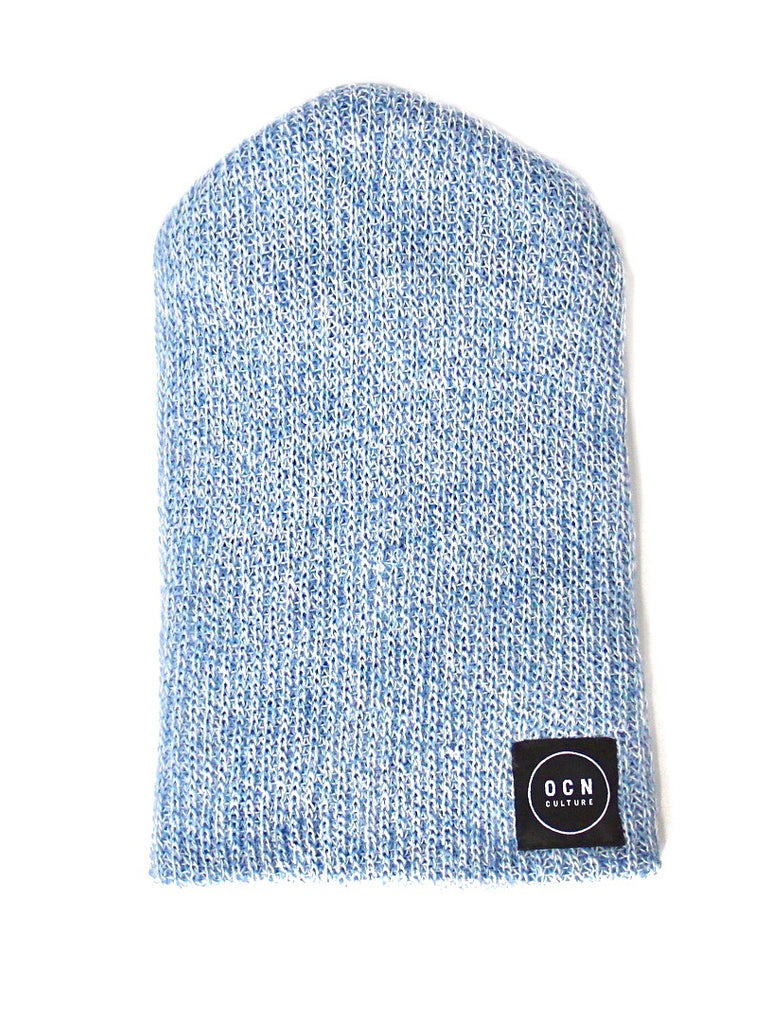 OCN Slouch Heather Beanie Sea Glass Blue and White
