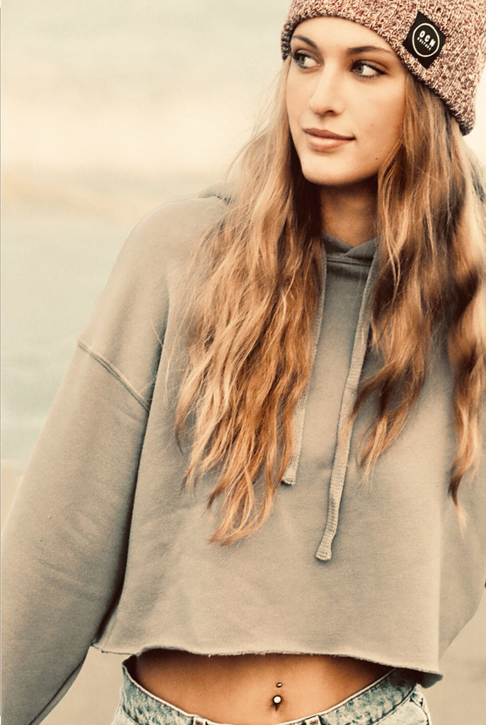 Crop Sand and Sea Fleece Hoodie