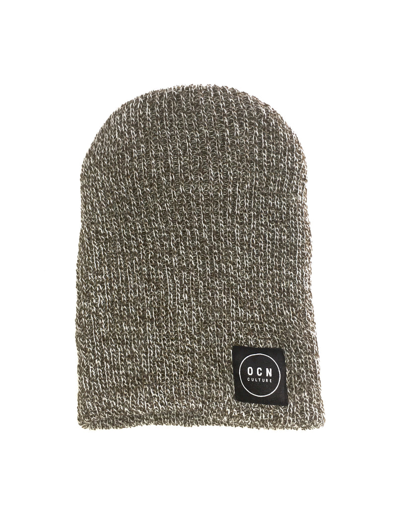 OCN Slouch Heather Beanie Olive and White