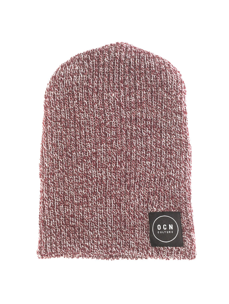OCN Slouch Heather Beanie Chile Red and White