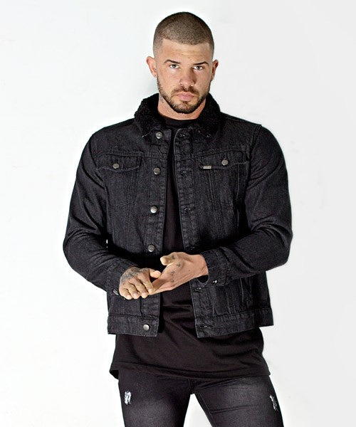 Black Denim Borg Collar Jacket