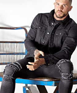 BLACK EXTREME RIP SUPER SKINNY MUSCLE FIT BIKER JEANS