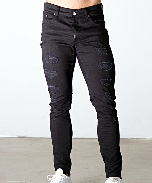 BLACK SUPER SKINNY EXTREME RIP MUSCLE FIT JEANS BLACK