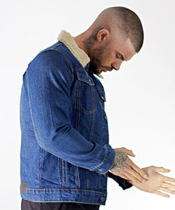 Blue Denim Borg Collar Jacket