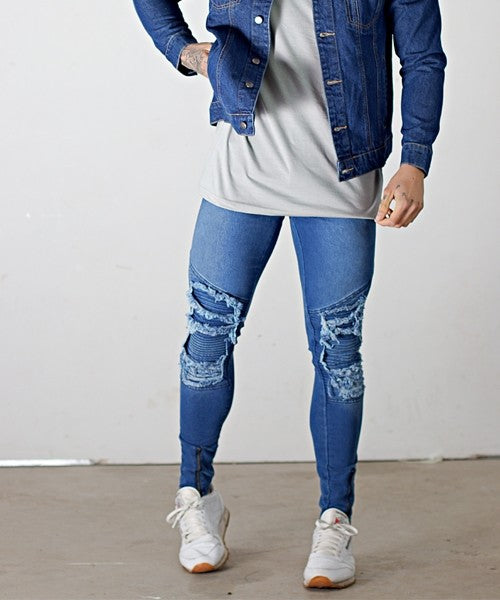 BLUE EXTREME RIP MUSCLE FIT SUPER SKINNY BIKER JEANS