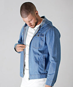 Blue Washed Hooded Denim Jacket