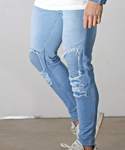 LIGHT BLUE MUSCLE FIT SUPER SKINNY BIKER JEANS