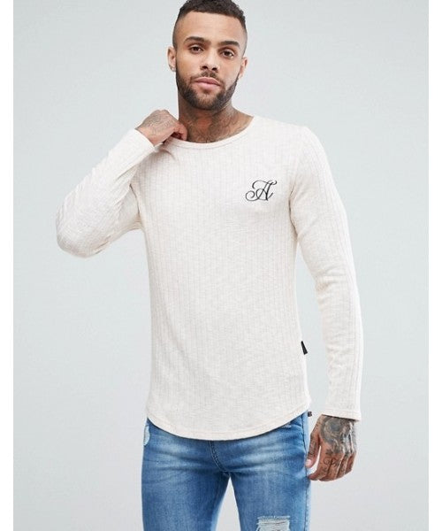 Long Sleeve Curved Hem in rib Muscle Fit Top