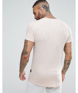 Muscle Fit T-Shirt with Curved Hem in Rib