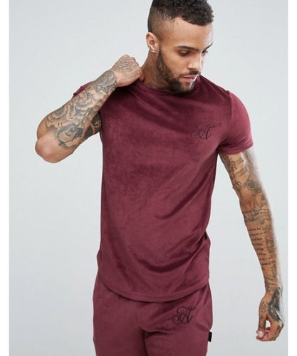 Slim Fit Velour T-Shirt with Curved Hem