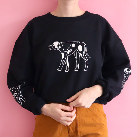 Cropped Hand Printed Black DOGS Sweatshirt