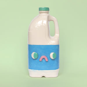 Anthropomorphic Ceramic Slipcast Vegan Plant Milk Jug by Illustrator Eva Stalinski Pictured on a Pale Green Background, 2020