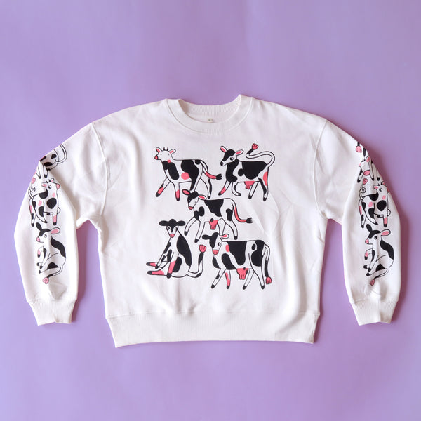IMPERFECT Cropped Off White COW Sweatshirt (Reddish Front Print)