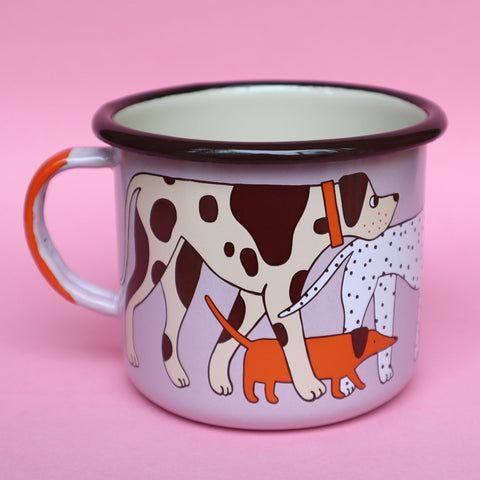Pink, Orange, Cream and Brown Enamel Dog Design Mug by Illustrator Eva Stalinski Featuring Great Dane, Dachshund, Dalmatian, Pug, Pointer and Jack Russell Dogs, 2020. Produced by Family Owned Polish Factory Emalco Enamelware