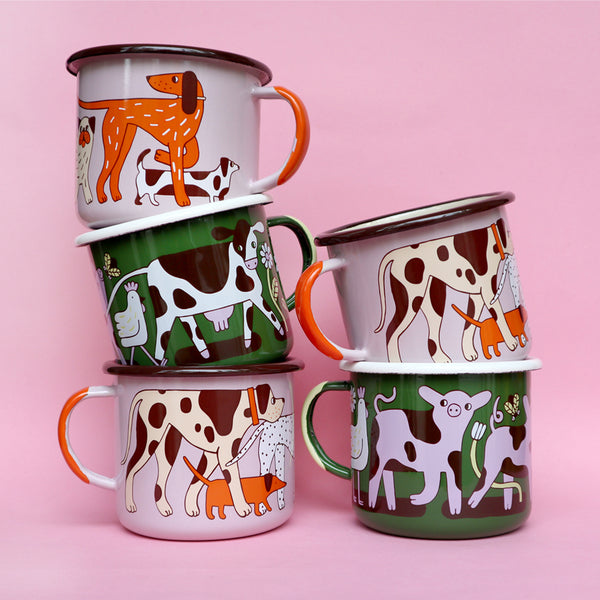 Stacked Pink, Orange, Cream and Brown Enamel Dog and Green Cow Pig Design Mugs by Illustrator Eva Stalinski Featuring Great Dane, Dachshund, Dalmatian, Pointer and Jack Russell Dogs, Cows, Pigs and Chickens 2020. Produced by Family Owned Polish Factory Emalco Enamelware
