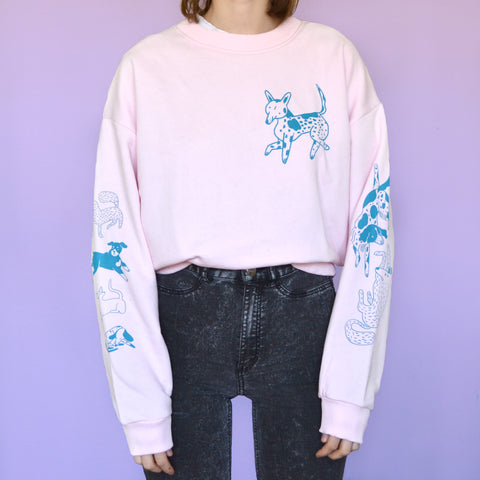 Pink and Blue Dog Park Crewneck Sweatshirt