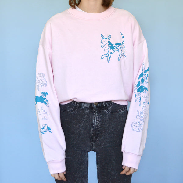 Pink and Blue Dog Park Crewneck Sweatshirt with TINY STAIN! Size Medium