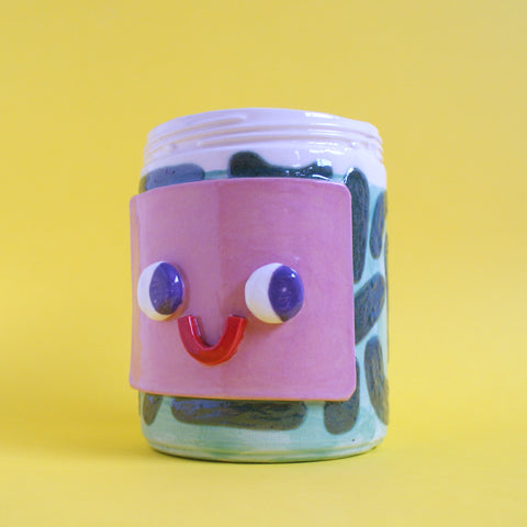 Ceramic Pickle Jar (HAPPY)