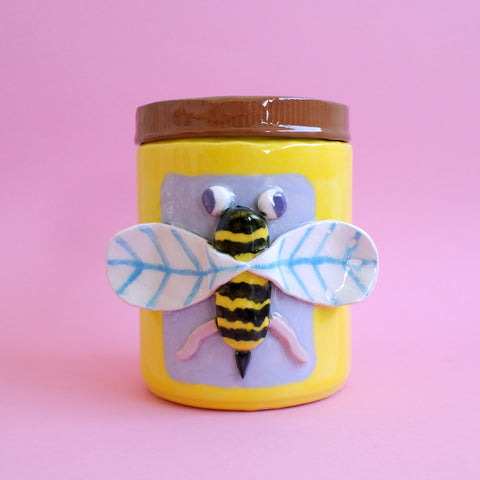 Ceramic Honey Bee Jar With Loose Lid! One of Four! (IMPERFECT)