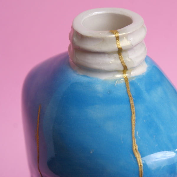 Ceramic Kintsugi Dish Soap Bottle in Blue and Green