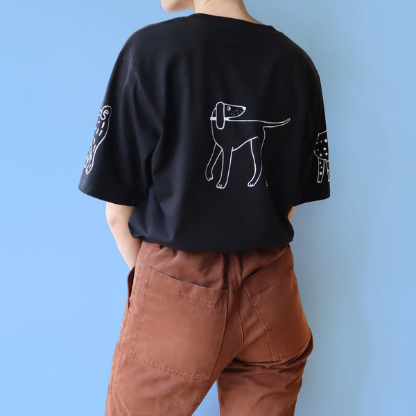 IMPERFECT Hand Printed  Black DOGS Tee