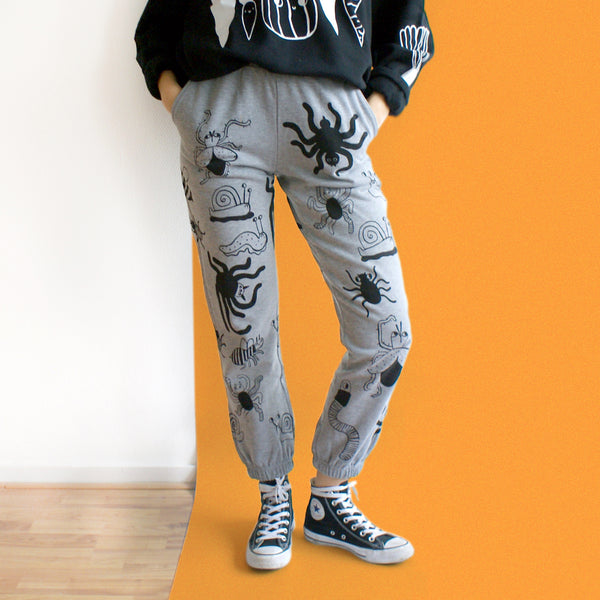 IMPERFECT Hand Printed Bug Sweatpants! SCORCHED! Size S