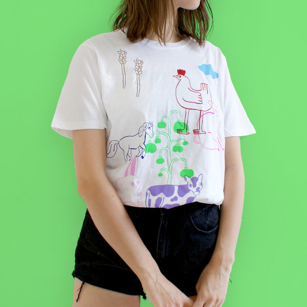 Imperfect 13 Color FARM ANIMAL Tee (sale) Hand Printed Shirt by Eva Stalinski model picture