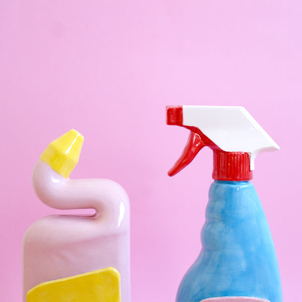 Sad Pink and Yellow Ceramic Toilet Cleaner Bottle with Eyes