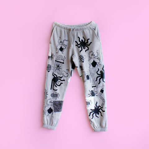 IMPERFECT Hand Printed Bug Sweatpants! with PATCHES! Size Medium