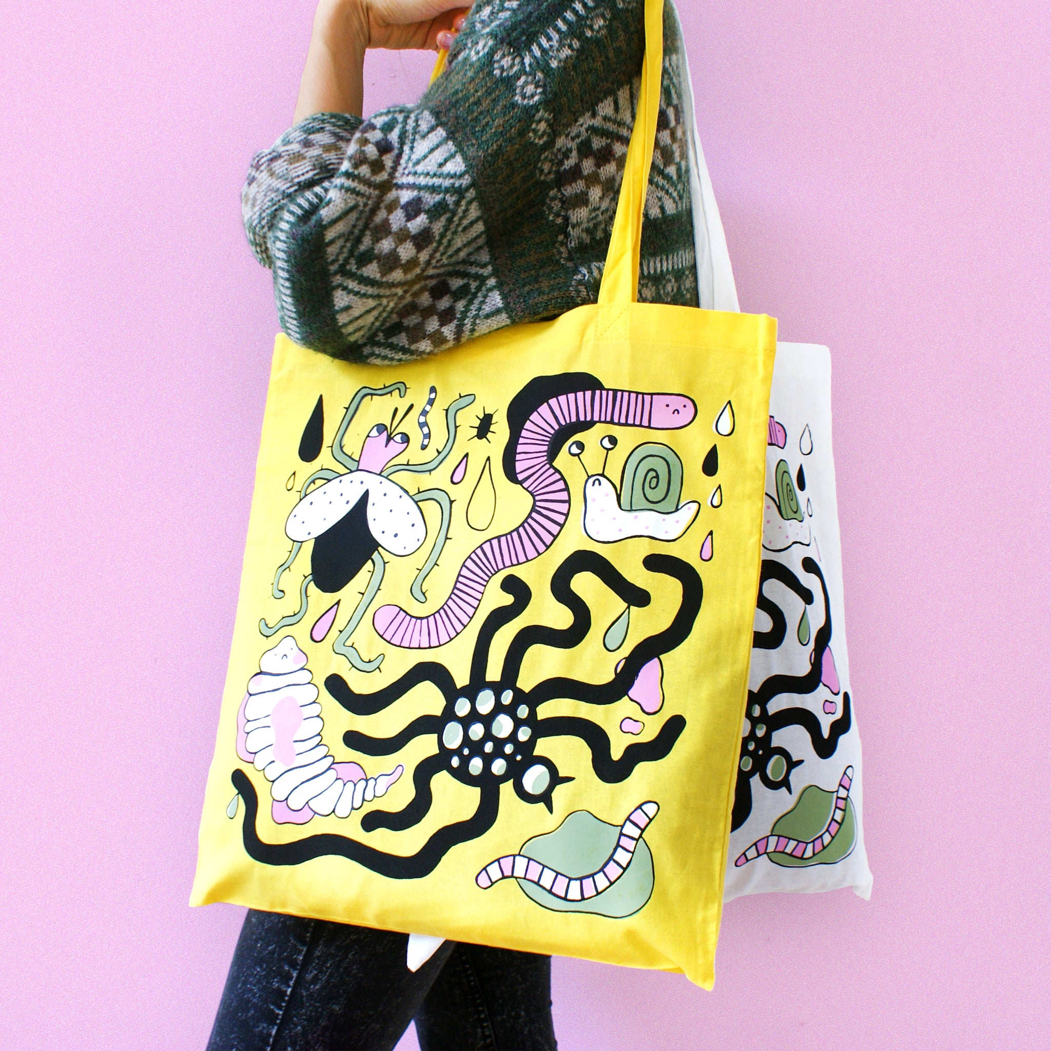 Hand Printed BUG Tote Bag in Yellow (with extra worm)
