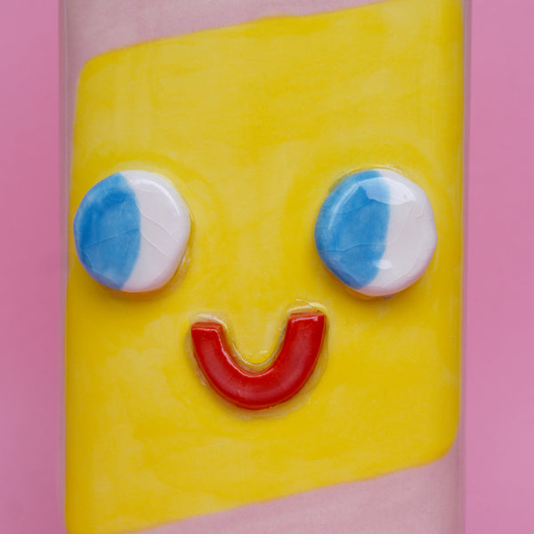 Pink and Yellow Ceramic Toilet Cleaner Bottle with Eyes