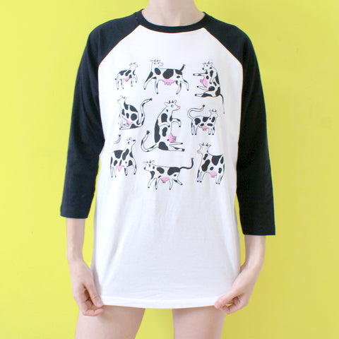 Black COW Raglan Baseball Shirt illustration tee by eva stalinski