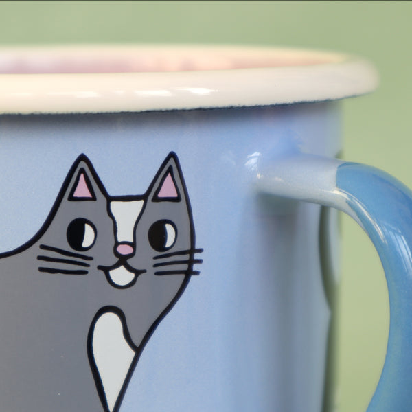 Detail of Light Blue, Pink, Cream and Grey Enamel Cats Design Mug by Illustrator Eva Stalinski Featuring Sacred Birman, European British Shorthair, Kitten and Hairless Sphynx Cats, 2021. Produced by Family Owned Polish Factory Emalco Enamelware