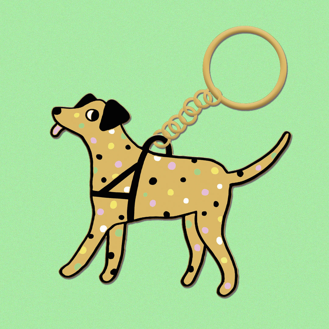 Golden Disco Dog Keychain!