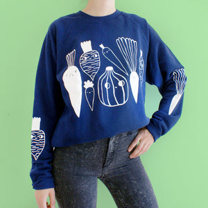 NAVY Veggie Sweater (sale) vegetable illustration screen printed sweatshirt by illustrator Eva Stalinski model picture