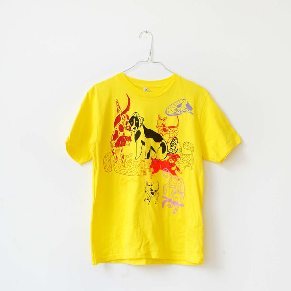 yellow EP100 tee t-shirt hand screen printed dog park by Lizzy O'Donnell and Eva Stalinski illustrator collaboration hanging photo