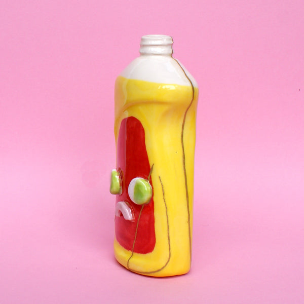 Ceramic Kintsugi Dish Soap Bottle in Yellow and Red