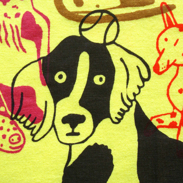 yellow EP100 tee t-shirt hand screen printed dog park by Lizzy O'Donnell and Eva Stalinski illustrator collaboration close up print detail shot photo