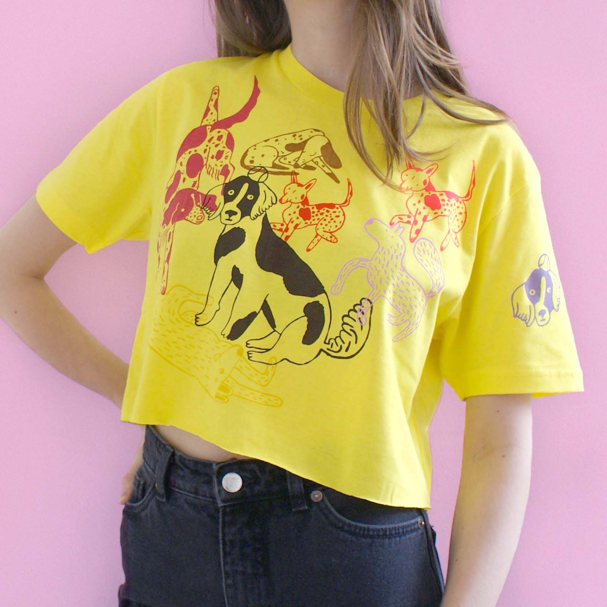 yellow EP100 tee t-shirt hand screen printed dog park by Lizzy O'Donnell and Eva Stalinski illustrator collaboration