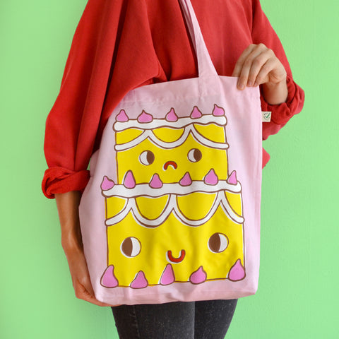 IMPERFECT Hand Printed VANILLA CAKE Tote Bag (100% Organic Cotton)