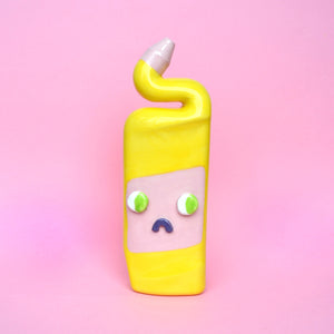 Yellow and Pink Ceramic Toilet Cleaner Bottle with Eyes
