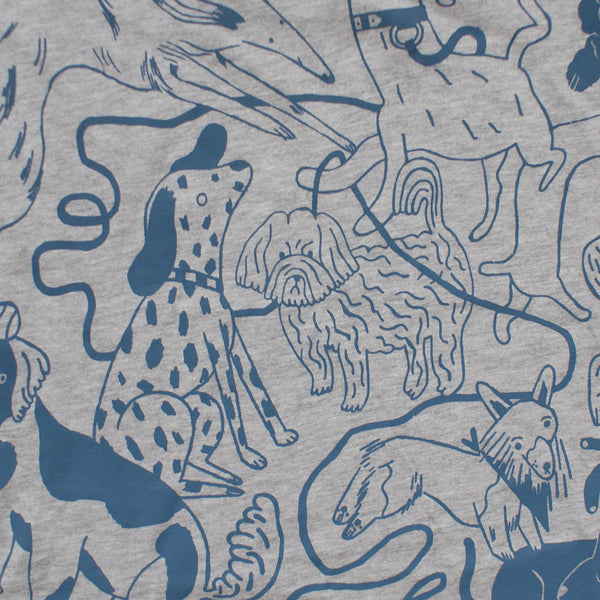 BLUE and GREY Dog Park Ringer Tee Illustration Screen Print Collaboration Lizzy O'Donnell and Eva Stalinski close up big back print