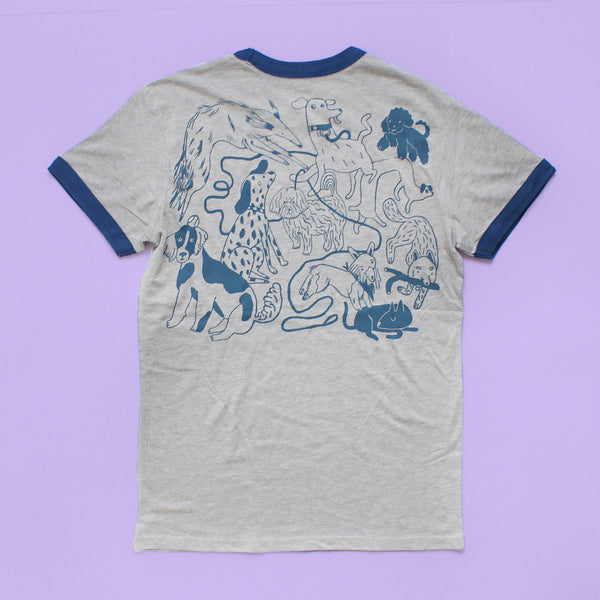 BLUE and GREY Dog Park Ringer Tee Illustration Screen Print Collaboration Lizzy O'Donnell and Eva Stalinski flat lay back of shirt