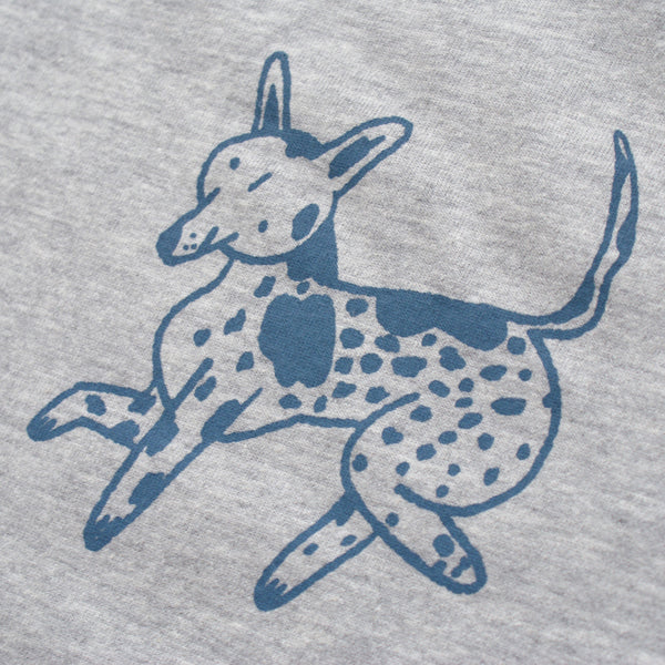 BLUE and GREY Dog Park Ringer Tee Illustration Screen Print Collaboration Lizzy O'Donnell and Eva Stalinski close up front print