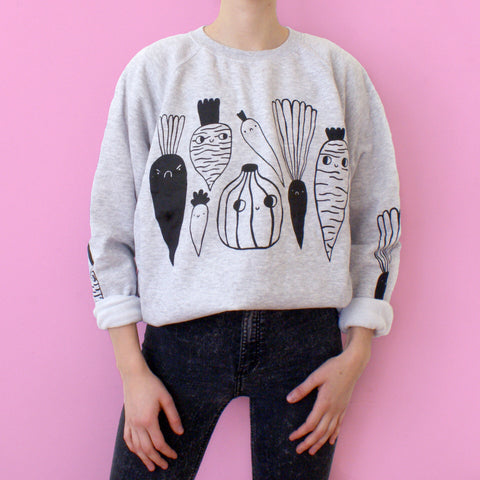 GREY Veggie Sweater by Eva Stalinski Illustrator model picture