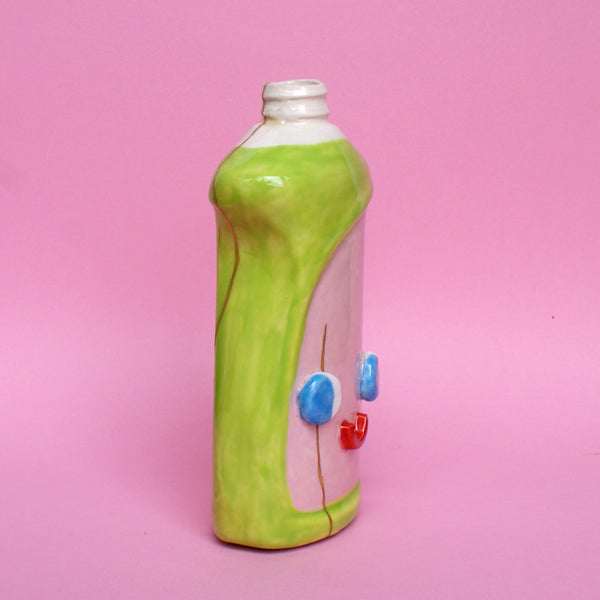 Ceramic Kintsugi Dish Soap Bottle in Green and Pink