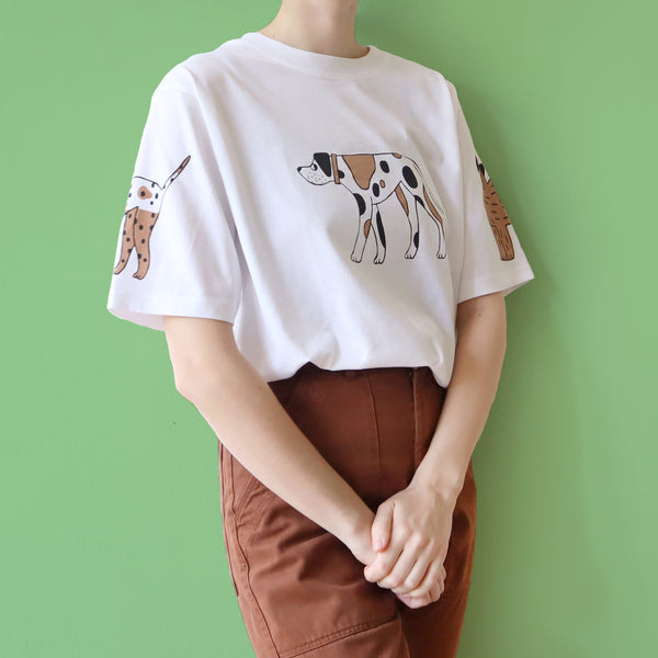 Hand Screen Printed White, Brown and Black Dog T-shirt by Eva Stalinski 2020