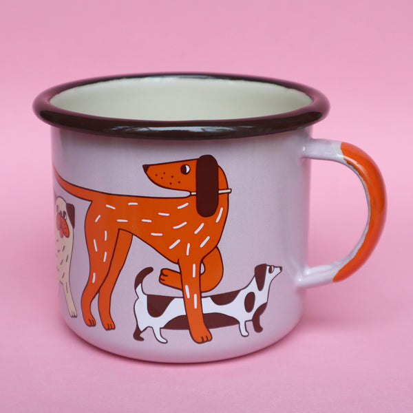 Side View of Pink, Orange, Cream and Brown Enamel Dog Design Mug by Illustrator Eva Stalinski Featuring Great Dane, Dachshund, Dalmatian, Pug, Pointer and Jack Russell Dogs, 2020. Produced by Family Owned Polish Factory Emalco Enamelware