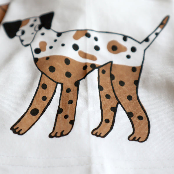 Hand Screen Printed White, Brown and Black Dalmatian Dog T-shirt by Eva Stalinski 2020